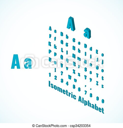 Isometric Alphabet And Font Small And Large Letters Design Element