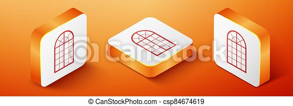 Isometric Arched window icon isolated on orange background. Orange square button. Vector - csp84674619