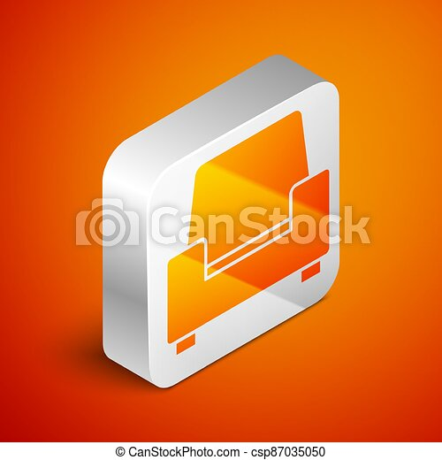 Isometric Armchair icon isolated on orange background. Silver square button. Vector - csp87035050