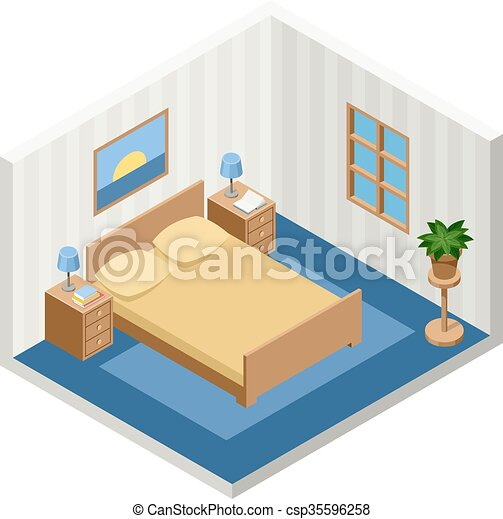 isometric bed room with furniture - csp35596258