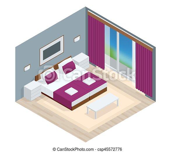 Isometric Bedroom interior. Interior of a modern new hotel apartment - csp45572776
