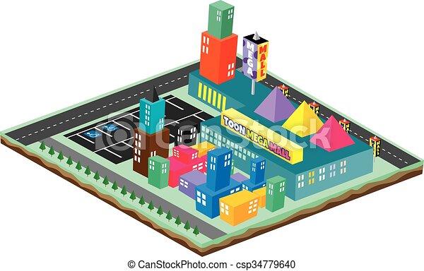 isometric block cartoon world - csp34779640