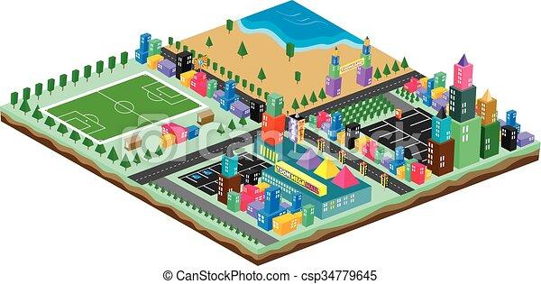 isometric block cartoon world - csp34779645