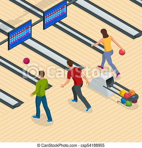 isometric bowling center interior with game equipment vector rh canstockphoto com Bowling Clip Art Clip Art Bowling Party