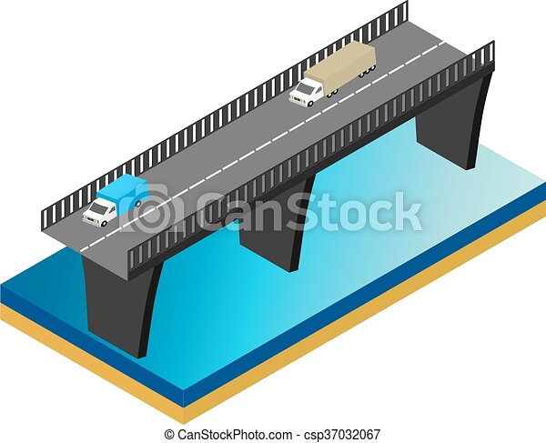 Isometric bridge over the river with cars - csp37032067