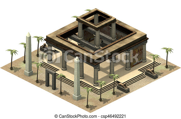 Isometric buildings of ancient Egypt, temple with pillars  3D rendering