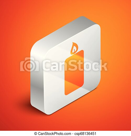 Isometric Burning candle icon isolated on orange background. Old fashioned lit candle. Cylindrical aromatic candle stick with burning flame. Silver square button. Vector Illustration - csp68136451