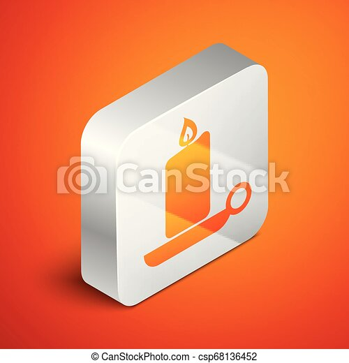 Isometric Burning candle in candlestick icon isolated on orange background. Old fashioned lit candle. Cylindrical aromatic candle stick with burning flame. Silver square button. Vector Illustration - csp68136452