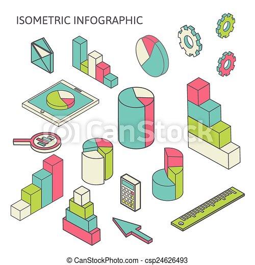 isometric business finance analytics, chart graphic - csp24626493