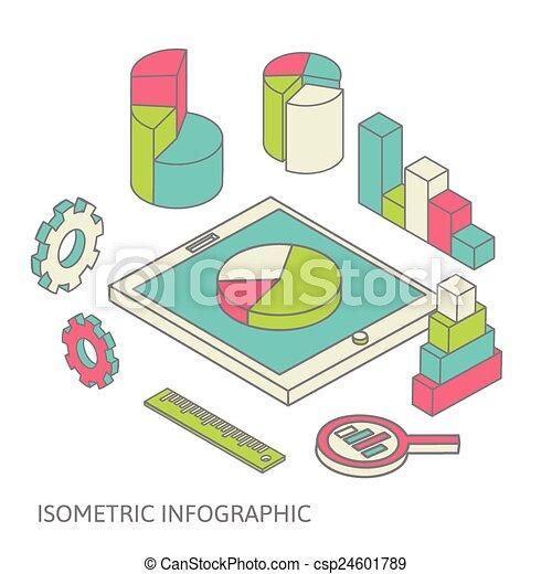 isometric business finance analytics, chart graphic - csp24601789