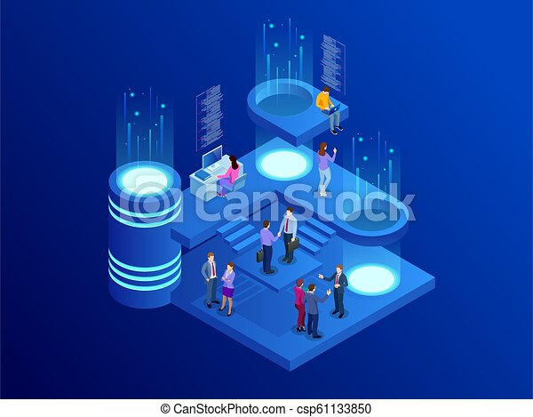 Isometric business people talking conference meeting room. Team work process. Business management teamwork meeting and brainstorming. Vector illustration. - csp61133850