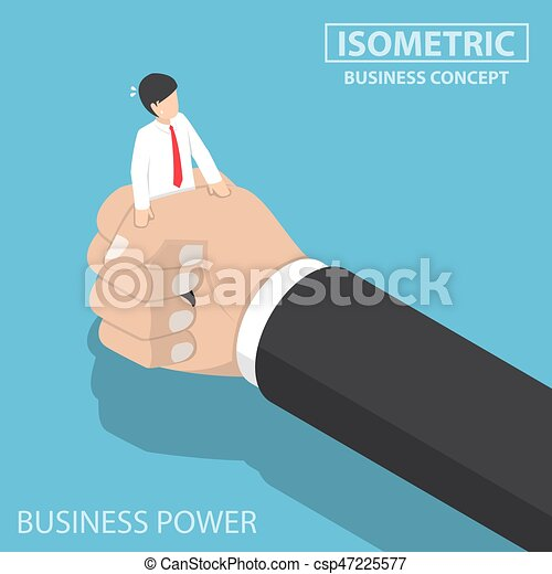 Isometric businessman being squeezed by big hand - csp47225577