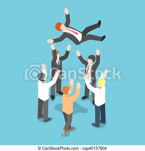 Isometric businessman being throw up in the air by his team - csp40157804