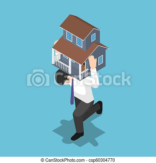 Isometric businessman carrying a house on his back - csp60304770