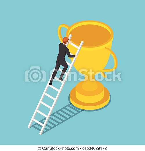 Isometric businessman climbs up ladder to the trophy - csp84629172