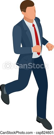 Isometric businessman isolated on write. Creating an office worker character, cartoon people. Business people. Businessman is running - csp82460189