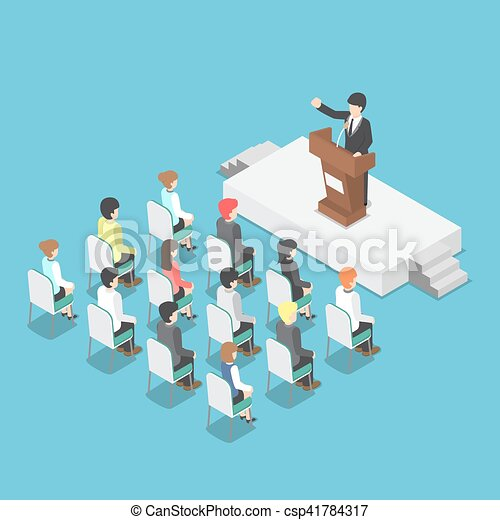 Isometric businessman speaking at a podium in a conference - csp41784317