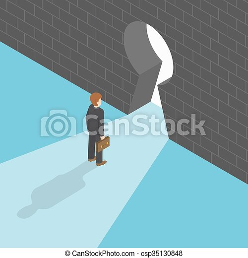 Isometric businessman standing in front of big keyhole - csp35130848