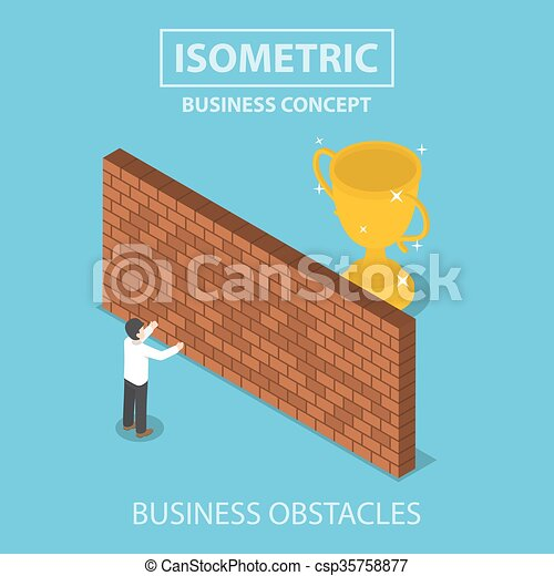 Isometric businessman standing in front of brick wall with trophy behind - csp35758877