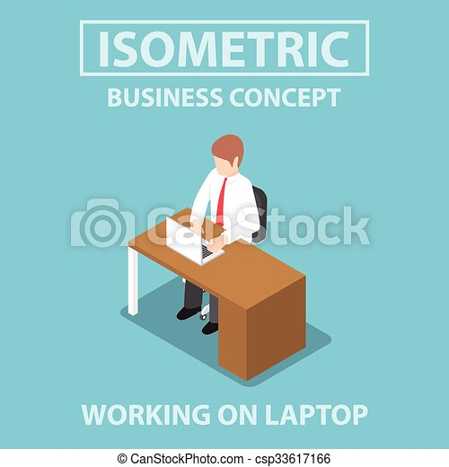 Isometric businessman working on laptop at his desk - csp33617166