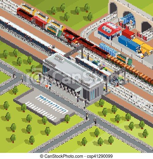 isometric, cartaz, modernos, treine estação, estrada ferro - csp41290099
