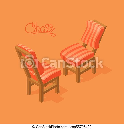 isometric cartoon chair icon isolated on blue chairs with orange rh canstockphoto com
