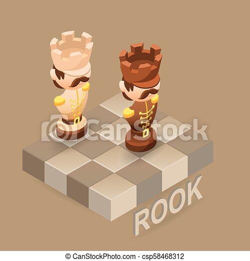 Isometric cartoon chess pieces Rook, Vector flat illustration