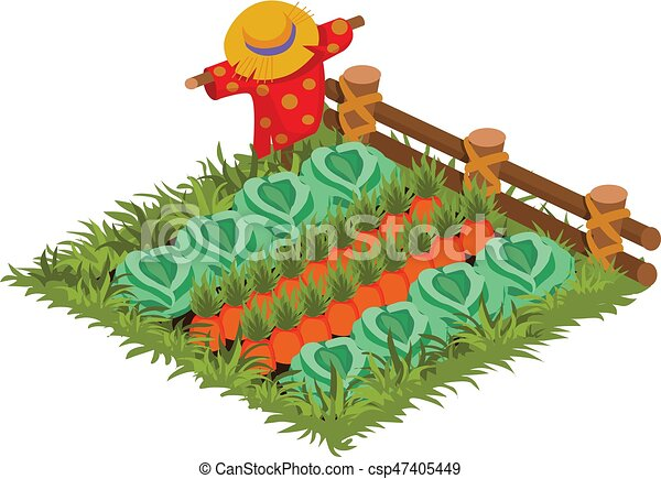 isometric cartoon vegetable garden bed planted with cabbage and
