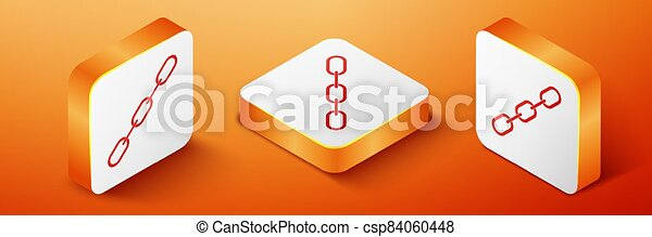 Isometric Chain link icon isolated on orange background. Link single. Orange square button. Vector - csp84060448