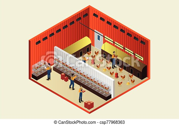 Isometric Chicken Coop Farm Vector Illustration - csp77968363