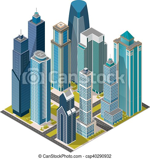 isometric city megapolis concept office buildings vectors rh canstockphoto com victor building department victor building lansing
