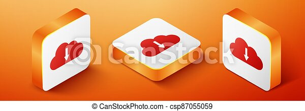 Isometric Cloud download icon isolated on orange background. Orange square button. Vector - csp87055059
