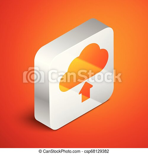 Isometric Cloud download icon isolated on orange background. Silver square button. Vector Illustration - csp68129382