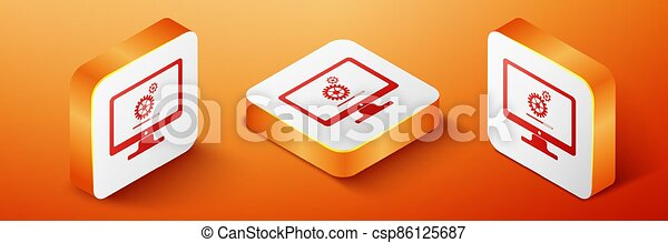 Isometric Computer monitor update process with gear progress and loading bar icon isolated on orange background. Adjusting, setting, maintenance, repair. Orange square button. Vector - csp86125687
