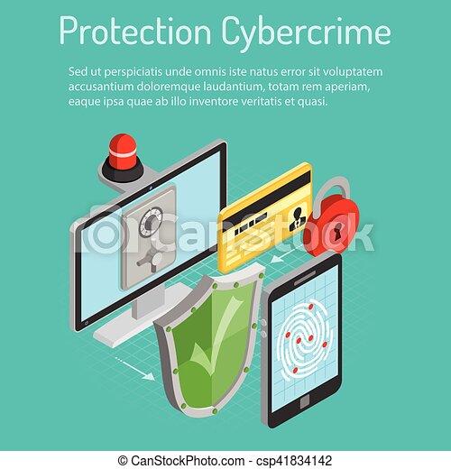 isometric, conceito, cyber, proteção, crime - csp41834142