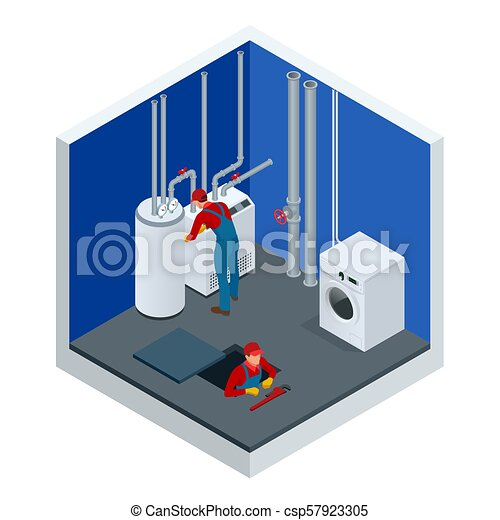 Isometric condensing boiler gas in the boiler room. worker set up ...