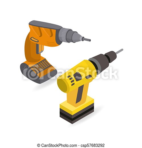 Isometric construction power tools  Drill, power screwdriver  Ve