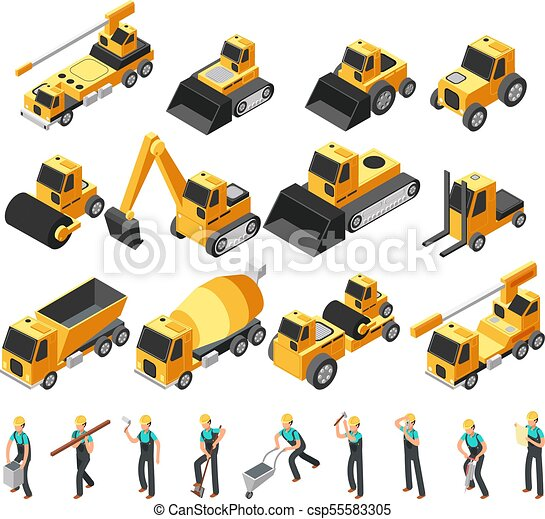 Isometric Construction Workers Building Machinery And Equipment 3d
