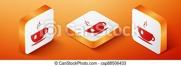 Isometric Cup with tea bag icon isolated on orange background. Orange square button. Vector - csp88506433