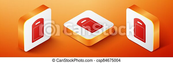 Isometric Cutting board icon isolated on orange background. Chopping Board symbol. Orange square button. Vector - csp84675004