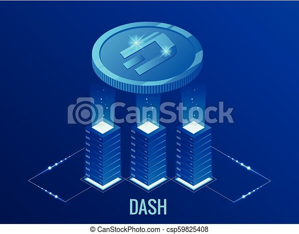 Isometric DASH Cryptocurrency mining farm  Blockchain technology,  cryptocurrency and a digital payment network for financial transactions   Abstract