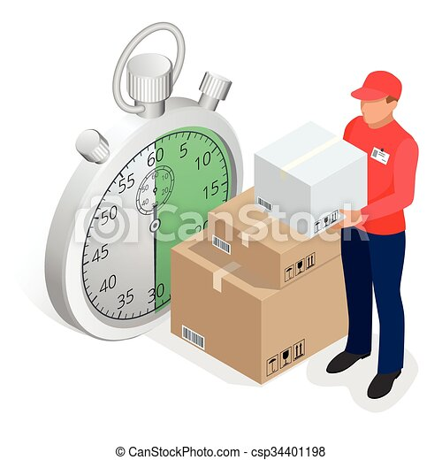 Isometric delivery service concept. Fast delivery car, fast delivery motobike, delivery man, stopwatch. Vector 3d isometric illustration - csp34401198