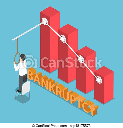 Isometric Desperate Businessman Trying to Commit Suicide - csp48175573