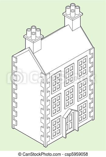 Isometric Dolls House Drawing  - csp5959058