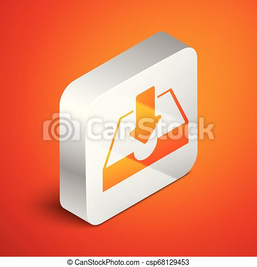 Isometric Download inbox icon isolated on orange background. Silver square button. Vector Illustration - csp68129453