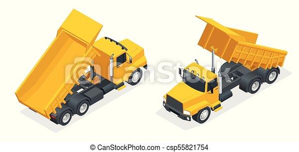 Isometric dumper truck, excavator, dump truck isolated. - csp55821754