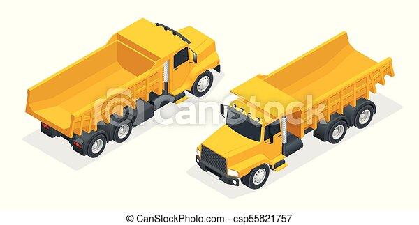 Isometric dumper truck, excavator, dump truck isolated. - csp55821757