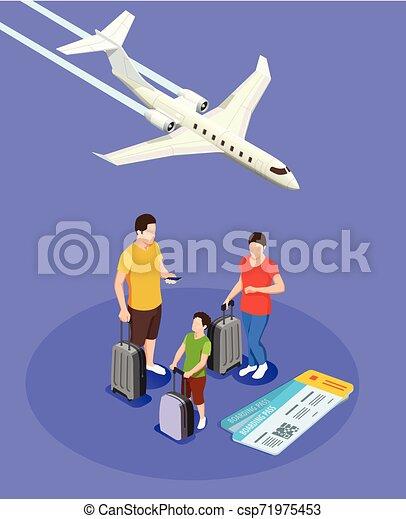 isometric, emberek, zenemű, utazó - csp71975453