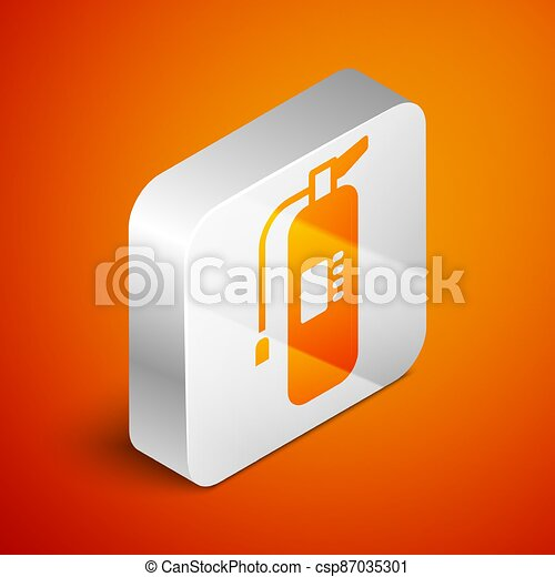 Isometric Fire extinguisher icon isolated on orange background. Silver square button. Vector - csp87035301