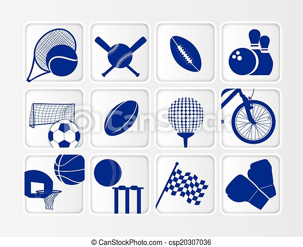 isometric flat sports ball icon set on white background - csp20307036